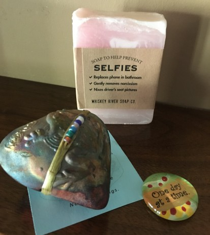 Selfie soap, frog spirit rattle, pocket reminder rock