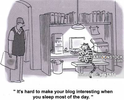 'It's hard to make you blog interesting when you sleep most of the day.'